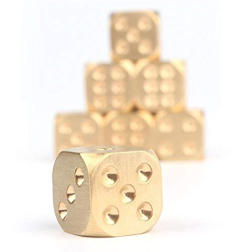 GUOXIANG Mahjong Würfel Polyhedral 6-Seitig Lustwürfel Würfeln 10er Set Messingwürfeln Gold mit runden Ecken, Hexaeder, für Familienfeiern, DND Kinderspielzeug -15mm