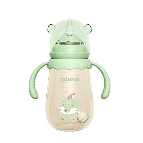 POTATO Baby Bottles PPSU Baby Feeding Bottle 10 oz Anti-Colic Bottles with Silicone Nipples Breastfeeding Bottles for Babies & Toddlers- Green