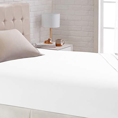 Amazon Basics – Satin-Spannbettlaken, 80 x 190 cm, weiß