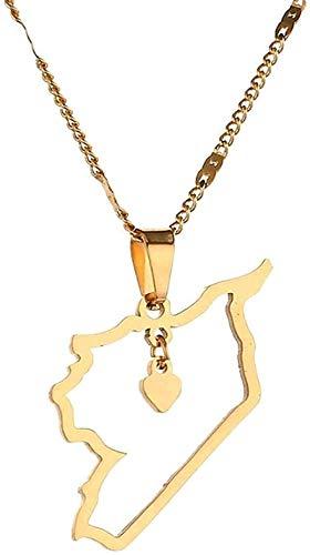 FACAIBA Collar Collar de Acero Inoxidable Mapa de Siria Collares Pendientes Collar con Colgante de Contorno Joyería del Encanto del corazón de los sirios