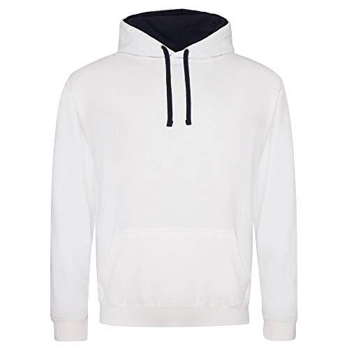 Just Hoods Just Hoods Varsity Kapuzenpullover, damen, Kapuzenpullover, JH003, White - Arctic White/French Navy, (M)