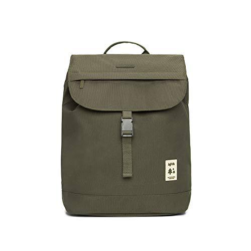 Eco-Rucksack mit Klappe und Innentasche für Notebooks von 33 bis 33,8 cm (13 bis 13,6 Zoll), hergestellt aus recyceltem Material, 100 % recycelte Kunststoffflaschen., Oliv (Grün) - ..