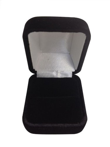 Novel Box Domed Jewelry Ring Box in Black Velvet with Metal Hinge + Custom NB Cleaning Cloth