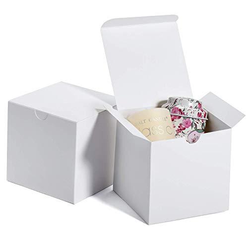 HOUSE DAY Cajas de regalo 10x10x10cm Cajas de regalo de papel Kraft con tapas para regalos Crafting Cupcake Cajas de cartón (50) (Blanco)