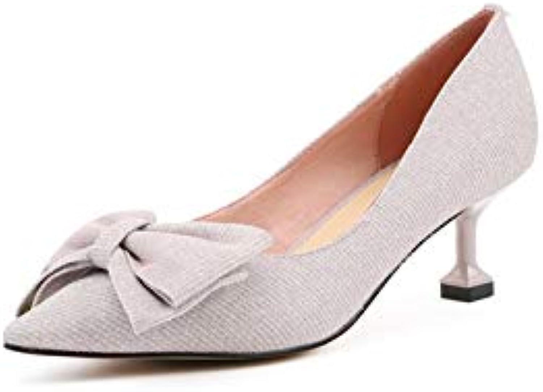 MENGLTX High Heels Sandalen 2019 Neue Frauen Party Prom Büropumpen Vier Saison Schmetterling Knoten Marke Hohe Qualitt Seltsame Hochhackige Elegante Schuhe Frau