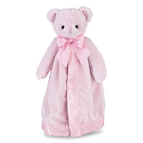 Bearington Baby Huggie Bear Snuggler, Pink Teddy Plush Stuffed Animal Security Blanket, Lovey 15'