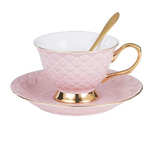 Juego de platillos Art Bone China, taza de café y platillo de porcelana de té y café para el hogar, cocina, boda, vajilla, capuchino, taza, color rosa