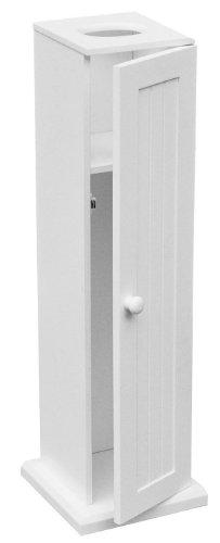 Premier Housewares Toilet Roll Holders / Storage White Wood Bathroom Toilet Paper Storage MDF Free Standing Toilet Roll Holder / Stand For 5 Rolls 20 x 20 x 65