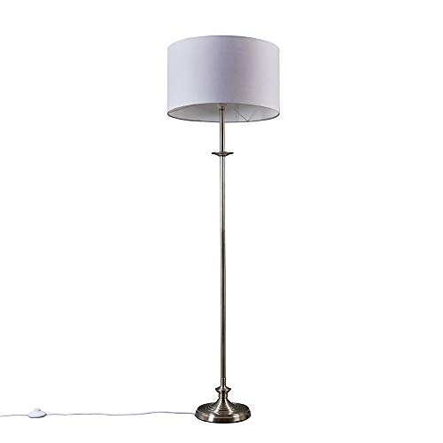 Traditional Style Brushed Chrome Sconce Floor Lamp with a Grey Drum Shade
