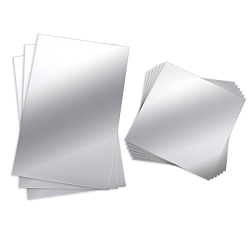 BBTO Mirror Sheets Flexible Non Glass Mirror Plastic Mirror Self Adhesive Tiles Mirror Wall Stickers (9 Pieces, Size 1)