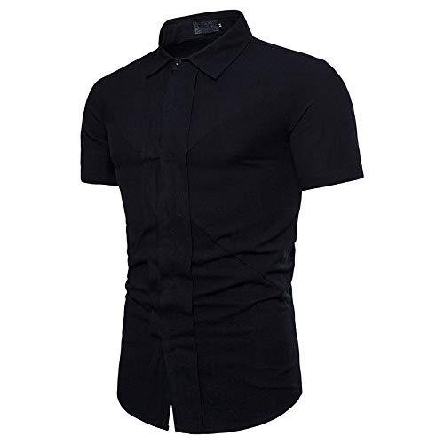 Camisas de Manga Corta para Hombre con Costuras de Moda Color sólido Slim Fit Verano Transpirable Cuello Vuelto Camisa Abotonada Medium