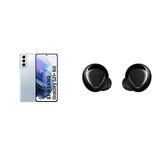 Samsung Galaxy S21+ 5G Smartphone Android Libre, Pantalla de 6.7' FHD+ 120Hz Dynamic AMOLED, Color Plata [Versión española] + Samsung Galaxy Buds+ - Auriculares Inalámbricos, Color Negro