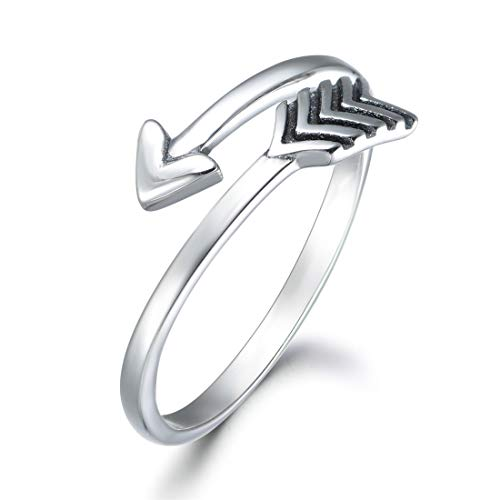 wynn's Solid 925 Sterling Silver Ring for Women, Adjustable Vintage Silver Thumb Ring, Unisex Resizable Arrow & Heart Infinity Open Finger Rings, Silver Toe Rings for Women Mens Girls