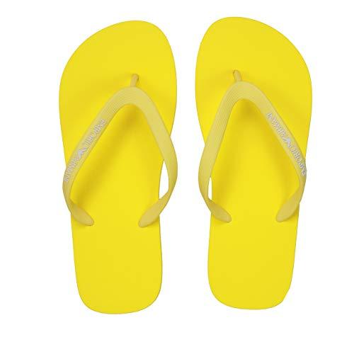 Emporio Armani Flip Flop Damen Frau Meer Pool Beachwear Artikel X3QS04 XL827 FLIP FLOP RUBBER + EVA, 00224 Giallo - Yellow, EU 39 - UK 6 - USA 6,5 - CN 251/88