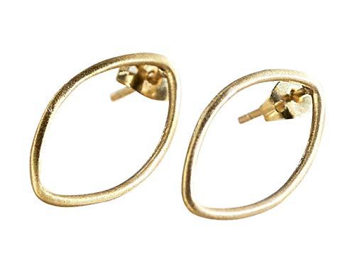 Pendientes de Oro 18k y Plata en forma ovalada para mujer - Pendientes de diseño minimalista para regalar (Chapado en oro)