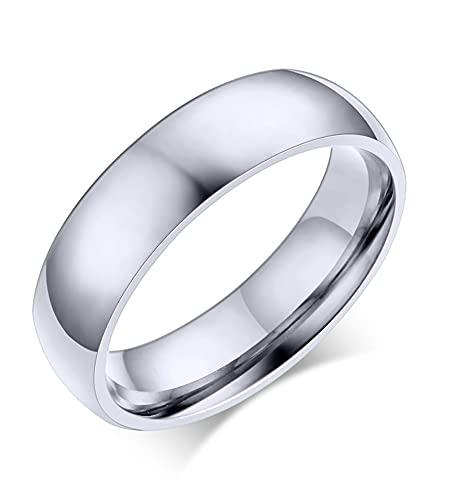 VNOX Anillo de boda personalizado de acero inoxidable chapado en oro rosa de 5 mm de ancho, simple para parejas, para mujeres y hombres, grabado gratis,