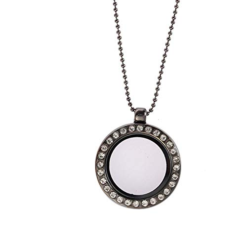 WFZ17 Rhinestone Inlaid Floating Round Glass Locket Necklaces Charm Jewelry for Women Girls Silver