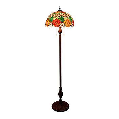 CLJ-LJ Lámpara estilo europeo pastoral de dos tonos estilo rosa de vidrio sobre flores de la serie de lámpara de pie de 16 pulgadas
