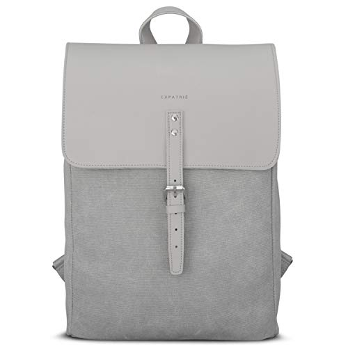 "Backpack Women Grey - Expatrié ""Anouk"" Daypack from Cotton Canvas & Vegan Leather - Small Womens Backpacks - Modern 10 Litre Bag with Laptop Compartment & Magnetic Clasp"