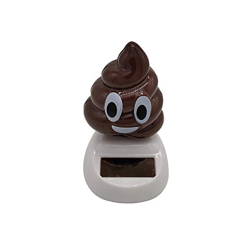 YINGYUE Funny Mini Dancing Poo Toy Model Solar Powered Swing Car Ornament Home Office Decor Gift