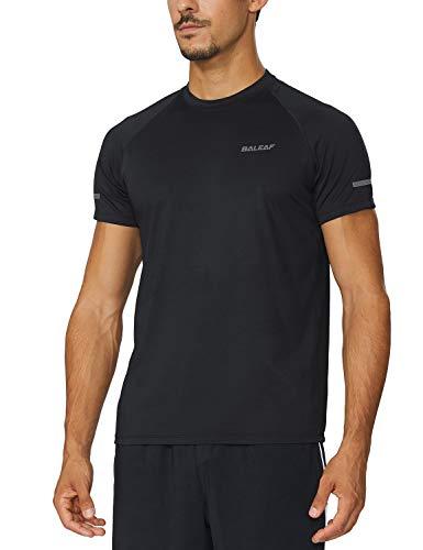 BALEAF Men's Quick Dry Short Sleeve T-Shirt Running Workout Shirts Black Size M
