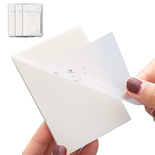 SKAJOWID Notas Adhesivas Transparentes con Calcomanías Pegajosas Pegajosas Papel Nota Simple Y Alto para Oficina Oficina Los Estudiantes (3 Blocs De 50 Hojas Cada Uno; 7cm x 9.6cm)