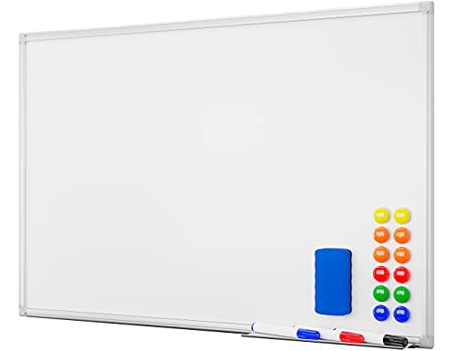 Alaskaprint Magnetisches Whiteboard Magnetwand magnettafel beschreibbar mit Alurahmen inklusive 3 Stiftablage, 12 Pinnwand Tafel und Schwamm 60 cm x 45 cm (B x H) - 2