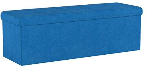 Relaxdays Faltbare Sitzbank XXL, Sitzcube mit Stauraum, Sitzwürfel aus Leinen, mit Deckel, HBT 38 x 114 x 38 cm, blau - 5
