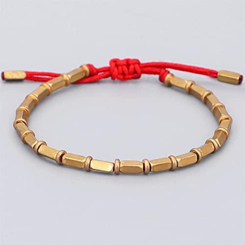 KEEBON Brazaletes de Hilo Budista Brazaletes para Hombres Charm Pulsera de Cuerda de Buda Anudada Regalo (Color : Red)