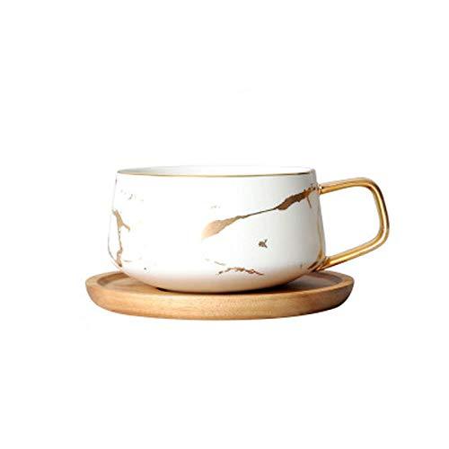 WANZSC Taza de café de cerámica con plato de cerámica condensado italiano, taza de té de la tarde taza de café pequeña con plato cuchara Set (estilo 03)