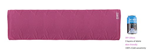ROMIX Cooling Towel 30*120 cm for Outdoor & Indoor Sports Instant Cooling (rose red)