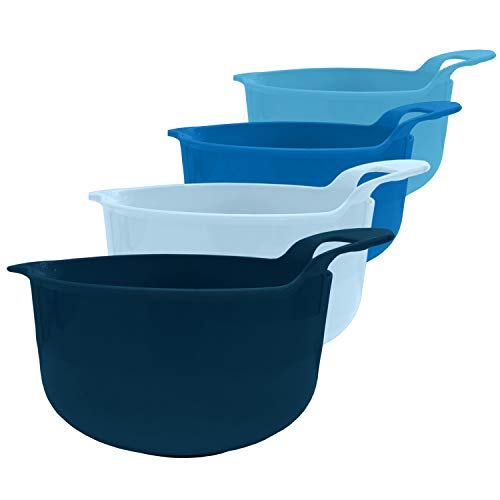 edge Mixing Bowls 4 Piece Plastic Non-Skid Nesting Bowls with Spouts and Handles for Baking Cooking and Serving Navy Blue