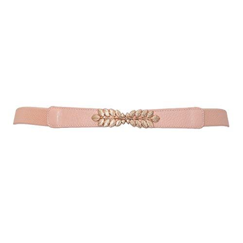 eVogues Plus size Leaf Interlocking Buckle Elastic Belt Pink - One Size Plus