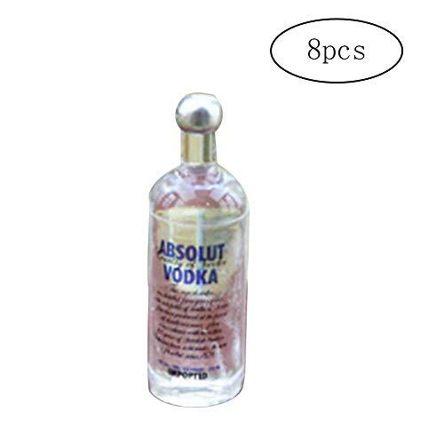 Miniaturas Casa De MuñEcas 1/12 8pcs Juguetes miniatura botellas de licor Conjunto divertido mini Resina Vodka Global beber licor Botella kit botellas vacías de alcohol Shot Dollhouse Decoraciones