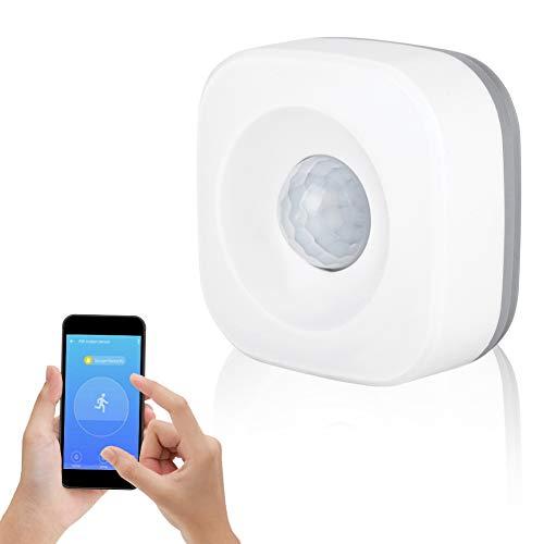 Sensor de Movimiento PIR, WiFi Inalámbrico Detector de Movimiento por Infrarrojos con Cobertura Total, Libre de Puntos Ciegos, Sensor de Alarma Antirrobo App Control Smart Home