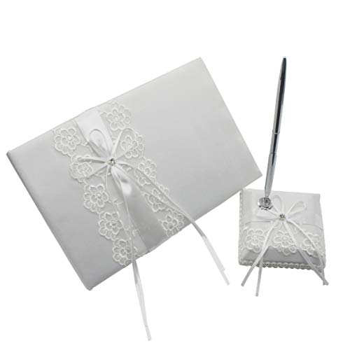 Meiysh Satin Bow Rhinestone Lace White Base Wedding Accessories Guest Book and Pen Set with Rhinestone