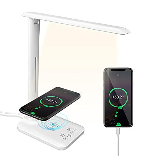 Beinhome Lámpara Escritorio LED Lámparas de Mesa con 10W Cargador Inalambrico, 3 Modos, 5 Niveles de Brillo, Control Táctil, Temporizador, Flexo Escritorio Lámparas para Estudio Lectura, Blanco