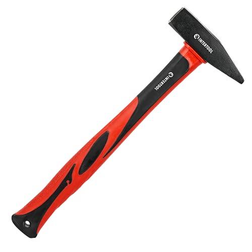 INTERTOOL Cross Peen Hammer 1lb / 16oz, Riveting, Blacksmith's, Engineer's, Tinner's Hammer, Shock Absorbing Fiberglass Handle 13-inch HT08-0205