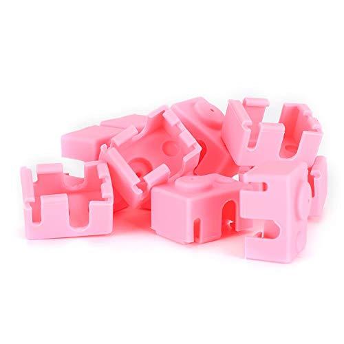 Skydd E3D-V6 rosa Bra stabilitet 10 delar strumpskydd Värmeblock Bra elasticitet för extruder 3D-skrivare
