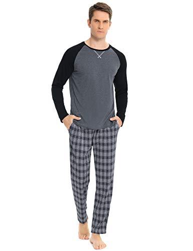 Hawiton Schlafanzug Herren Lang Pyjama Set Kariert Zweiteiliger aus Baumwolle Nachtwäsche Set mit Freizeithose und Schlafanzugoberteile, Farbe: Grau, Gr.M