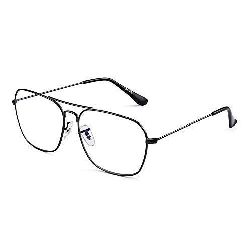 Gafas de Vista Aviador Bloqueo Luz Azul Computadora Mujer Hombre, Cuadradas Proteger Ojos Vídeo Anteojos Anti Deslumbramiento (Marco Gunmetal Punta del Templo Negro)
