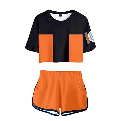 Naruto 40D Sexy Short T-Shirt Shorts Set New Cardigan Navel Short Sleeve Shorts Women's Suit Summer Suit Wearing a Very Attractive Clothes Tracksuits Crop Top T-Shirts and Shorts Suit