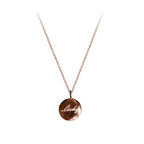Ahuyongqing Co.,ltd Necklace Little Golden Bean English Lettering Clavicle Chain Necklace Gift Girl