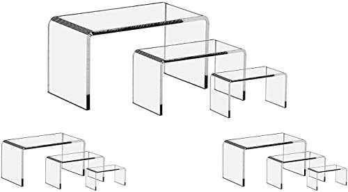 FlanicaUSA 9 Pieces Set - Clear Acrylic Display Riser Set, Acrylic Display Stand …