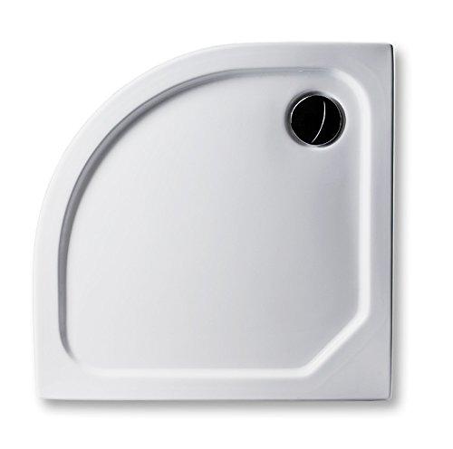 Acryl Duschwanne 80 x 80 cm superflach 2,5 cm Viertelkreis Radius 50, weiß Dusche mit GERADER UNTERSEITE