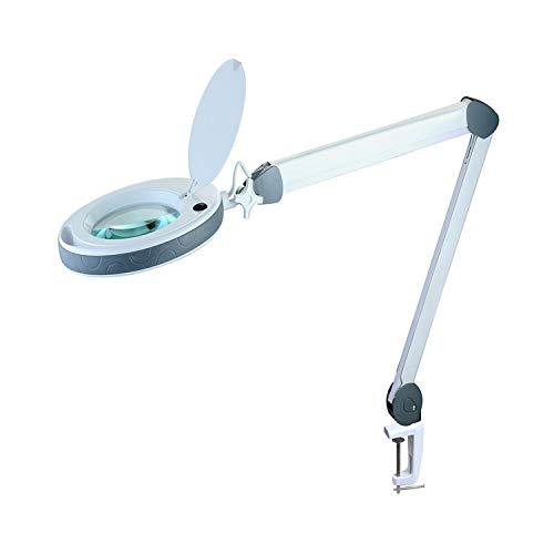 Lumeno dimmbare LED Lupenleuchte Serie 851X mit großer 152mm Echtglaslinse in 3 oder 5 Dioptrien einstellbare Helligkeitsstufen, Arbeitsleuchte/Lupenlampe 3