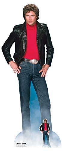 Star Cutouts SC1381 Michael David Hasselhoff Knight Rider Lifesize Recorte de cartón con Mini Standee Gratuito Fiestas de los años 80,  Fans y Eventos 190 cm de Altura,  Talla única