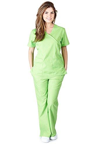 Natural Uniforms Women's Mock Wrap Scrub Set (Lime Green) (Small)
