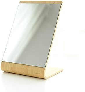 XZPENG Vanity Mirror, Portable Wooden Desktop Single-sided Bending Simple Square Countertop Makeup Mirror (Color : Natural)