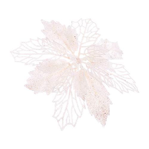 SUPVOX 12 Pezzi Glitter Fiori Stella di Natale Fiori Cavi Fiori Artificiali Albero di Natale Pendenti Ornamenti Pendenti (Bianco)